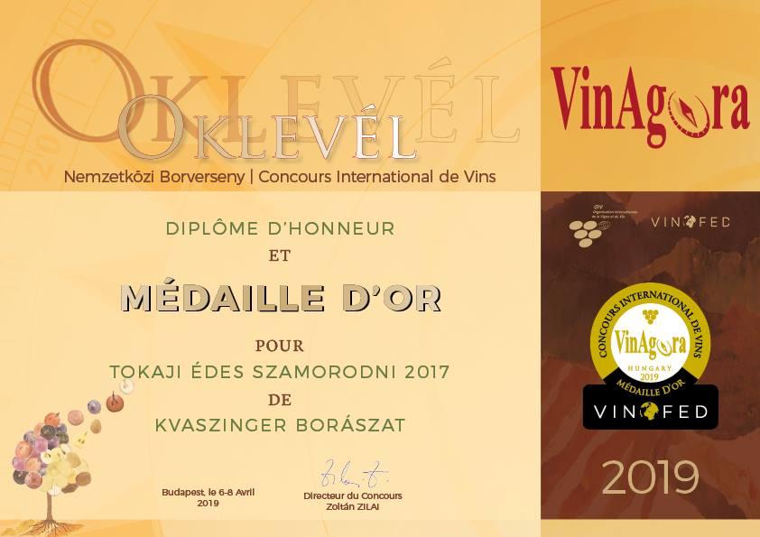 Kvaszinger VinAgora 2019 Arany